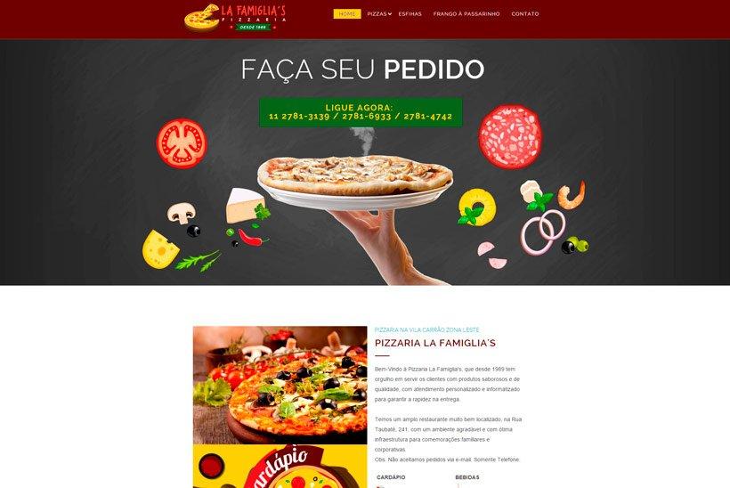Criação de Site para Pizzaria Lafamiglia's